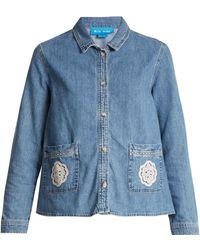 M.i.h Jeans - Lace-appliqué Denim Shirt - Lyst