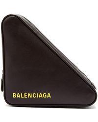 Balenciaga - Triangle Pochette M Leather Clutch - Lyst