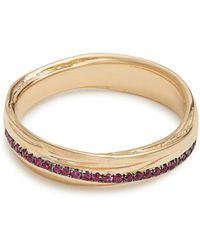 Alison Lou - Ruby & Yellow-gold Fettucine Ring - Lyst