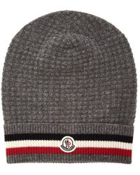 63745b607e2 Moncler - Striped Wool And Cashmere Blend Beanie - Lyst