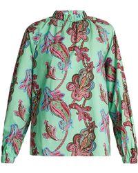 Tibi - Shirred-neck Paisley-print Cotton Top - Lyst