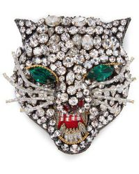 Gucci - Angry Cat Crystal-embellished Head Brooch - Lyst
