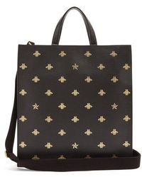 Gucci - - Bee Print Leather Tote - Mens - Black Multi - Lyst