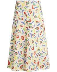 Duro Olowu | Abstract Bird-print Cloqué Midi Skirt | Lyst