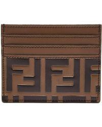 Fendi - Logo-embossed Leather Cardholder - Lyst