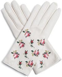 Gucci - Floral-embroidered Leather Gloves - Lyst