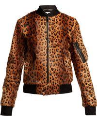Saint Laurent - Leopard Print Goat Hair Bomber Jacket - Lyst