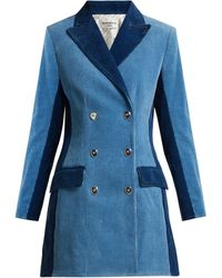 Sonia Rykiel - Panelled Double Breasted Corduroy Coat - Lyst