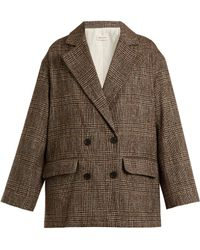 MASSCOB - Double-breasted Checked Cotton-blend Tweed Blazer - Lyst