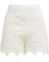 Giambattista Valli - High Waisted Guipure Lace Cotton Blend Shorts - Lyst