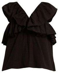 Cecilie Copenhagen - Imada Scarf-jacquard Cotton Top - Lyst