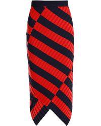 Altuzarra | Mallory Asymmetric Striped Ribbed-knit Midi Skirt | Lyst