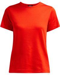 A.P.C. - Short Sleeved Cotton T Shirt - Lyst
