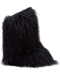 Saint Laurent - Shearling And Leather Knee High Moon Boots - Lyst