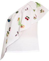 Rosie Assoulin - One-shoulder Embroidered Cotton Top - Lyst