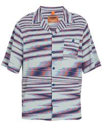 Missoni - Striped Camp-collar Fine-knit Cotton Shirt - Lyst