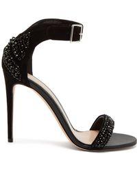 Alexander McQueen - Crystal-embellished Suede Sandals - Lyst