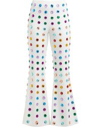 Sara Battaglia - Crystal Embellished Kick Flare Cady Trousers - Lyst