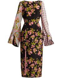 Natasha Zinko - Floral Houndstooth Silk Midi Dress - Lyst