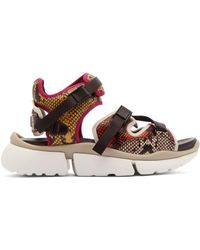 Chloé - Sonnie Python Effect Leather Trainer Sandals - Lyst