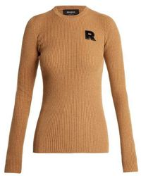 Rochas - Logo-appliqué Ribbed Cashmere Sweater - Lyst