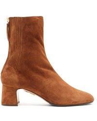 Aquazzura - Saint Honoré Suede Ankle Boots - Lyst