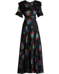 Duro Olowu - Floral-print Short-sleeved Silk-satin Dress - Lyst
