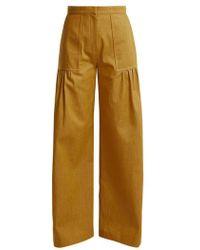 Duro Olowu - - High Rise Wide Leg Cotton Denim Trousers - Womens - Dark Yellow - Lyst
