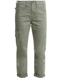 FRAME - Le Service Cotton-blend Cropped Cargo Trousers - Lyst