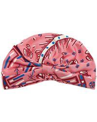 Valentino - Abstract-print Silk-satin Turban Hat - Lyst
