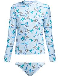 Thorsun - Lillie Cubist Tropical Print Rash Guard Bikini - Lyst