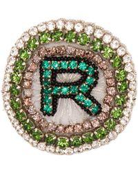 Rochas - R Logo Crystal Embellished Brooch - Lyst