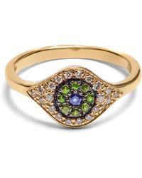 Ileana Makri - Diamond, Sapphire, Tsavorite & Yellow Gold Ring - Lyst