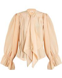 Chloé | Tie-neck Gathered Silk Crepe De Chine Blouse | Lyst