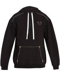 True Religion - Contrast-stitch Hooded Cotton Sweatshirt - Lyst
