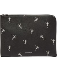 Alexander McQueen - Skeleton-print Zip-around Leather Pouch - Lyst
