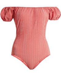 Lisa Marie Fernandez - Leandra Gingham Seersucker Swimsuit - Lyst