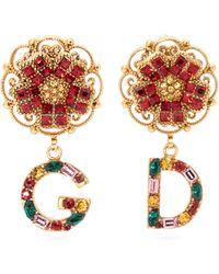Dolce & Gabbana - D&g Crystal Embellished Drop Earrings - Lyst
