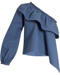 Rachel Comey - Georgia Asymmetric Ruffled Cotton Blend Top - Lyst