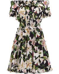 Dolce & Gabbana - Ruffled Lily Print Cotton Poplin Bardot Dress - Lyst