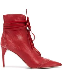 Miu Miu - Point Toe Lace Up Leather Ankle Boots - Lyst