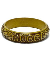 Gucci - - Logo And Snake Carved Resin Bangle - Womens - Green - Lyst