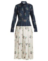 Gabriela Hearst - Rosa Spread-collar Abstract-print Silk Dress - Lyst
