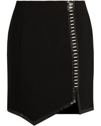 Mugler - Leather-trimmed Wool Mini Skirt - Lyst