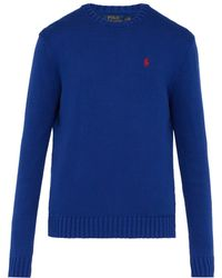 Polo Ralph Lauren - Logo Embroidered Knit Cotton Sweater - Lyst