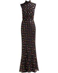 Saloni - Fleur Geometric Fil Coupé Silk Blend Gown - Lyst