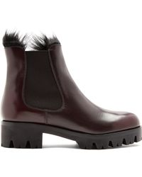 Prada - Fur Lined Leather Ankle Boots - Lyst
