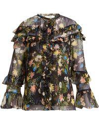 Erdem - Margery Mariko Meadow Print Silk Chiffon Blouse - Lyst