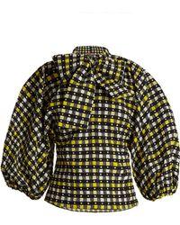 Duro Olowu - Napoli Check-print Tie-neck Blouse - Lyst