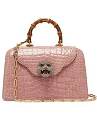 Gucci - Thiara Bamboo Handle Crocodile Leather Bag - Lyst